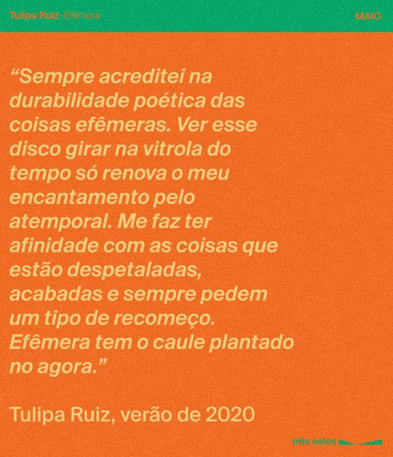tres selos assinatura mensal vinil clube tulipa ruiz efêmera lp